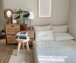 bedroom, minimal, and beige image