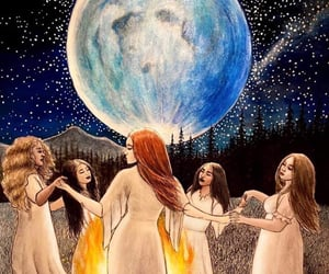 empowering, fire, and full moon image