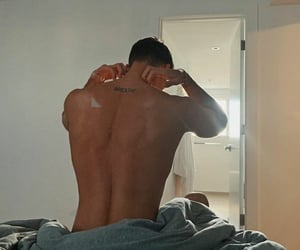 back, man, and bed image