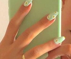 fake nails, green, and cute image