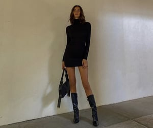 everyday look, long sleeve dress, and black ankle boots image
