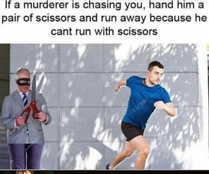 chase, humor, and scissors image