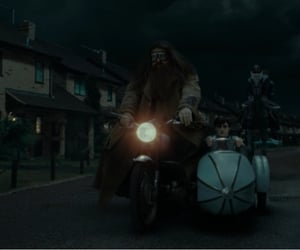 deathly hallows, harry potter, and motorcycle image
