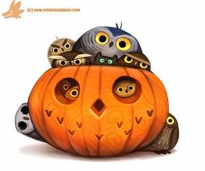 owls, art, and Halloween image