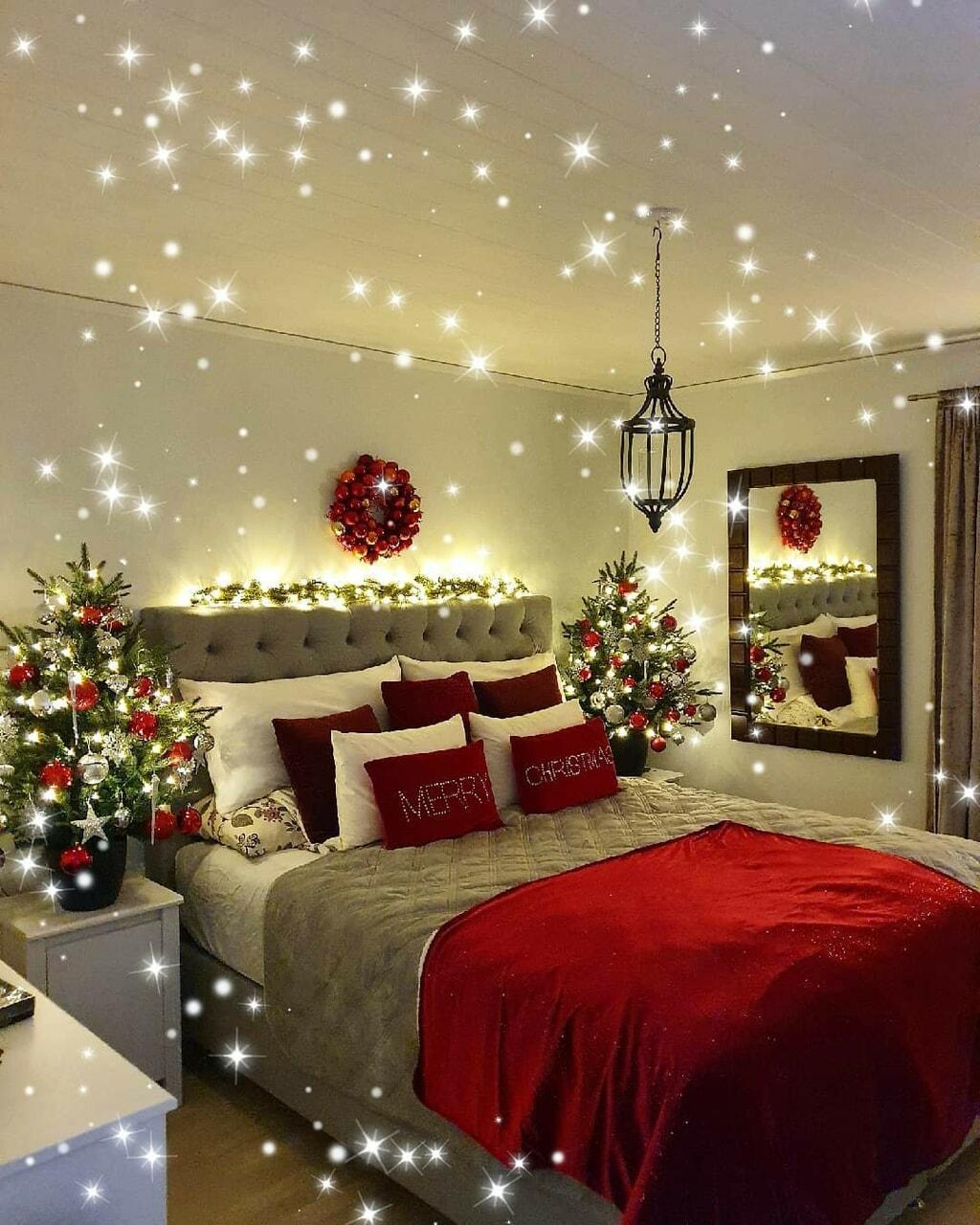 bed, christmas, and christmas tree image