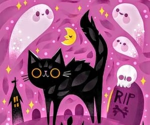 cat, ghosts, and Halloween image