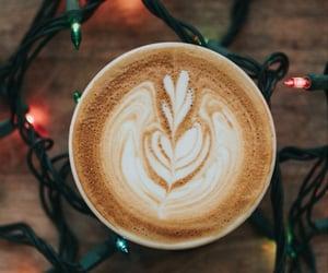 coffee, christmas, and lights image