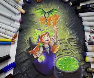 cat, markers, and witchy image