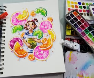 citrus, limes, and watercolor art image