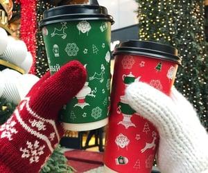 christmas, coffee, and couple image