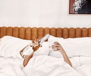 bed, champagne, and chill image