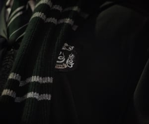 slytherin, green, and hogwarts image