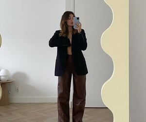 everyday look, black blazer, and wide leg trousers image