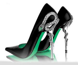 shoes, black, and snake image