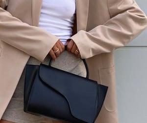 white tee shirt, loungewear, and beige blazer image