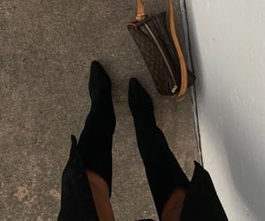 black coat, black heels, and knee high boots image