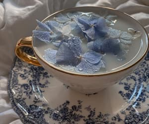blue, flowers, and tea image