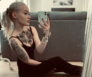 black, blonde, and chest tattoo image
