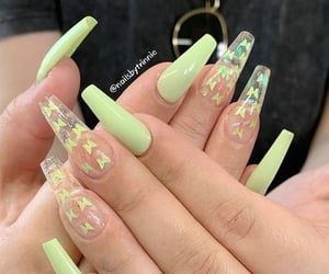 nails, girl, and green image