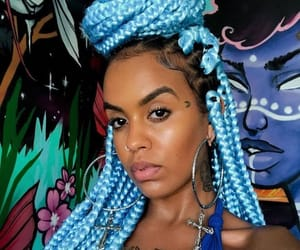 blue hair, natural hair, and blue braids image