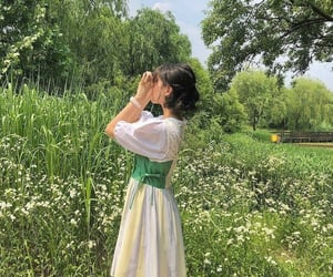 green, spring, and girl image