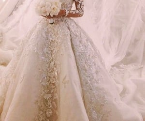 ballgown, bouquet, and dress image