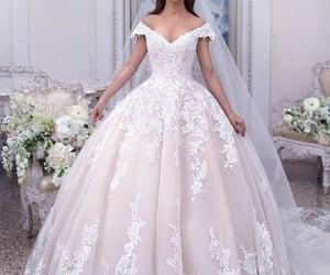 ballgown, bride, and v neck image