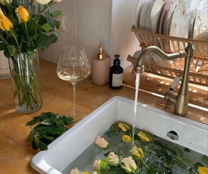 flowers, aesthetic, and kitchen image