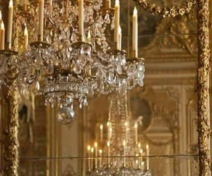 chandelier, gold, and aesthetic image