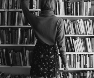 black and white, books, and girls image