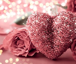 heart, rose, and pink image