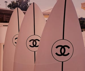 chanel, pink, and surfboard image