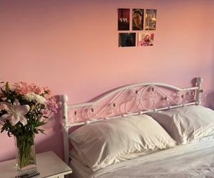 bed, flowers, and pink room image