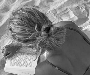 beach, book, and blonde image