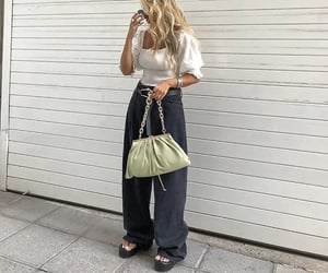 everyday look, puff sleeve, and wide leg pants image