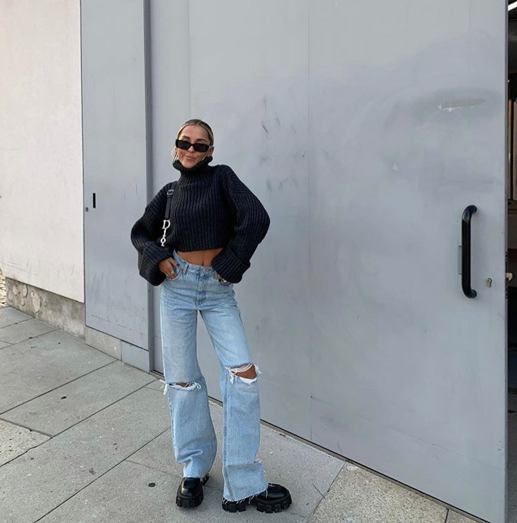 turtleneck, everyday look, and wide leg jeans image