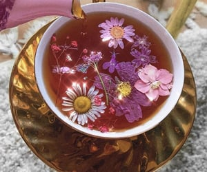 drink, flowers, and tea image