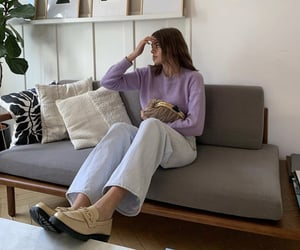 purple sweater, beige shoes, and fashion style mode image