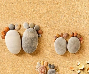 beach, family, and footprints image