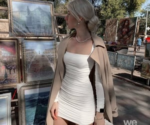 beige, girl, and white image