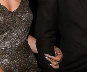 beauty, silver nails, and black suit image