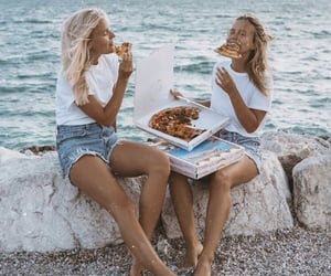 friendship, girls, and pizza image