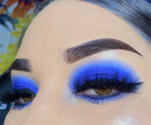 blue eyeshadow, eyebrows, and makeup ideas image