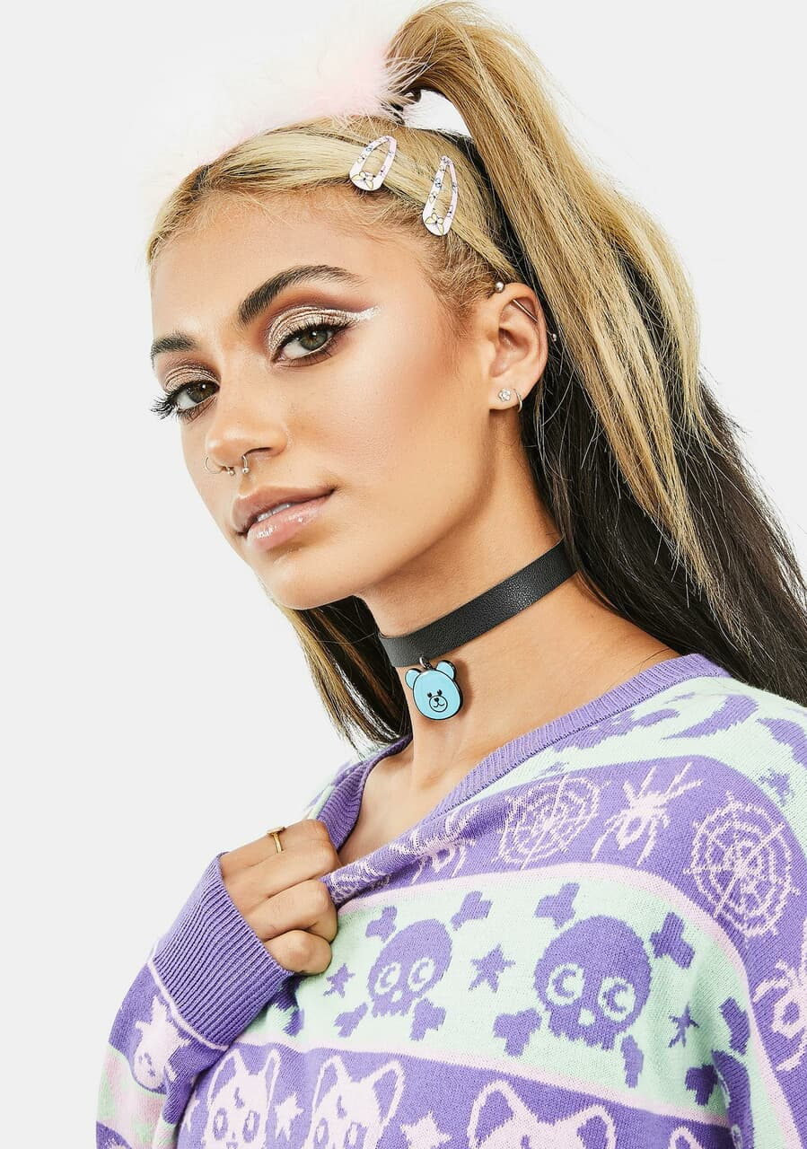 blonde, choker, and necklace image