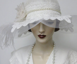 cloche, etsy, and white hat image