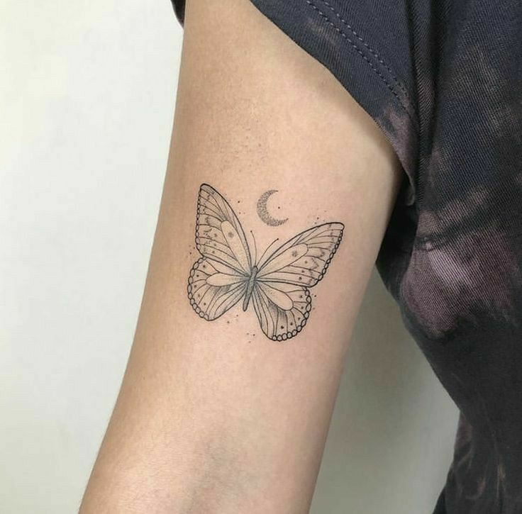 tattoo, butterfly, and moon image