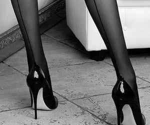 black white, high hells, and feet image