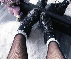 creepers, goth fashion, and fishnets image