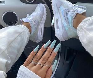nails, nike, and pastel blue image
