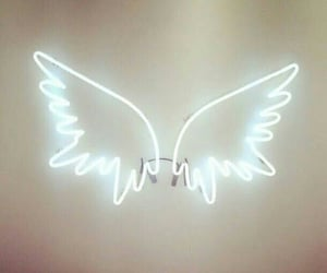 Angel Wings, neon, and sign image
